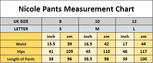 Nicole Pants Sizing Guide