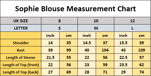 Sophie Blouse Sizing Chart